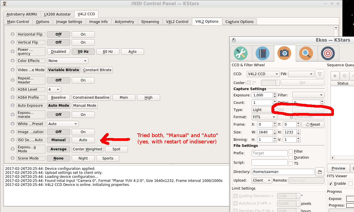 Can't change ISO of indi_v4l2_ccd device in EKOS - INDI Forum